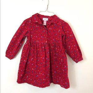 Baby Girls Floral Cordouroy Button Up Dress 4T.